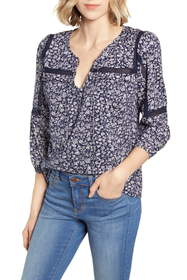 Lucky Brand Floral Crochet Detail Cotton Peasant B
