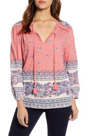 Lucky Brand Border Print Cotton Knit Peasant Top