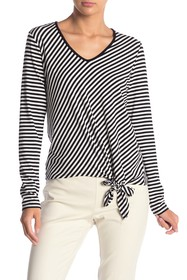 Vince Camuto Long Sleeve Tie Front Striped Shirt