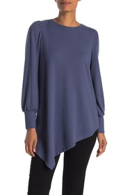 Vince Camuto Long Puff Sleeve Asymmetrical Sweater