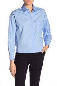 Vince Solid Boxy Button Front Shirt