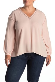 1.State Ladder Cutout High/Low Blouse (Plus Size)