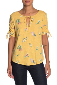 Lucky Brand Ruched Floral Top