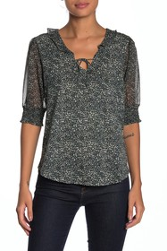 Lucky Brand Mix Media Floral Blouse