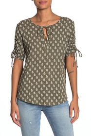 Lucky Brand Ruched Short Sleeve Top
