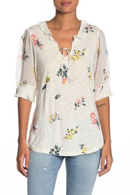 Lucky Brand Tassel Tie Floral Blouse