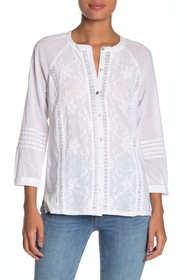 Lucky Brand Embroidered 3/4 Length Sleeve Blouse