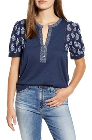Lucky Brand Mixed Media Embroidered Top
