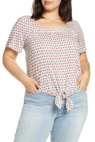 Lucky Brand Print Tie Front Top (Plus Size)