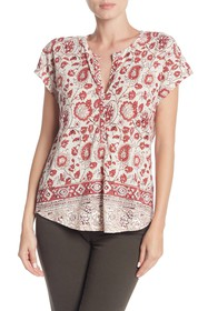 Lucky Brand Paisley Printed Henley T-Shirt