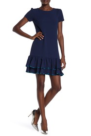 Betsey Johnson Pipe Trim Ruffle Hem Dress