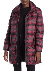 Lucky Brand Plaid Funnel Neck Zip Front Puffer Jac