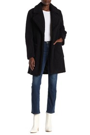 French Connection Faux Shearling Notch Lapel Patch
