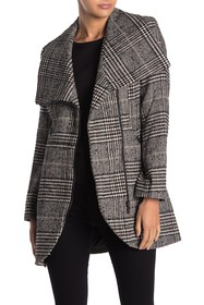 French Connection Plaid Wing Collar Coat