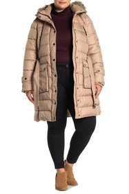 Lucky Brand Missy Belted Front Faux Fur Trim Jacke
