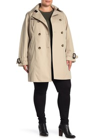 London Fog Double Breasted Lined Trench Coat (Plus
