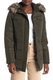 Lucky Brand Faux Fur Trim Hooded Zip Front Puffer
