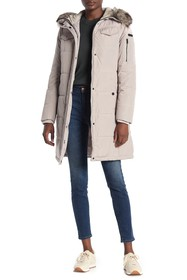 Lucky Brand Faux Fur Trim Hood Zip Front Quilted J