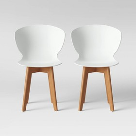 Set of 2 Lever Plastic Dining Chair with Wood Legs