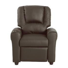 Kids Recliner Faux Leather Brown - HomePop