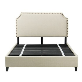 Queen Harris Upholstered Platform Bed with Nailhea