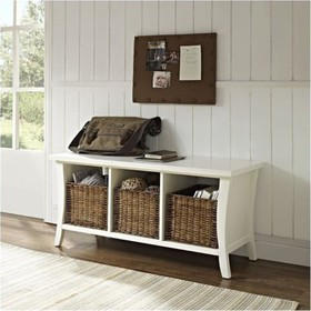 Wood Entryway Storage Bench in White-Bowery Hill