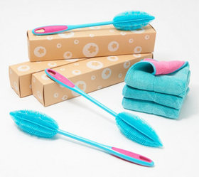 """As Is"" KOCHBLUME Set of 3 Silicone Brush & Towel"