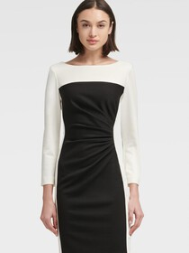 Donna Karan RUCHED COLORBLOCK SHEATH DRESS