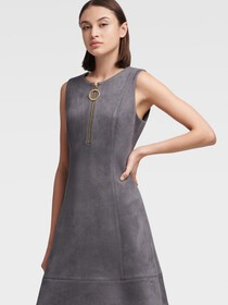 Donna Karan FAUX SUEDE FIT-AND-FLARE DRESS