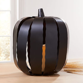 Crate Barrel Metal LED Pumpkin Luminaria