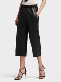 Donna Karan PULL-ON FAUX LEATHER PANT