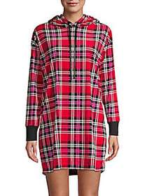 Betsey Johnson Plaid Velour Fleece Lounger RED