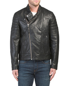 FRENCH CONNECTION Leather Bleeker Biker Jacket