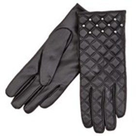 TAHARI Womens Studded Quilted Faux Leather Gloves