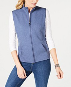 Petite Quilted Zip-Front Fleece Vest, Created for