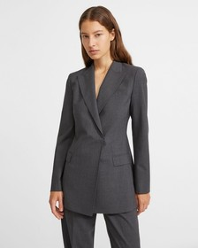Good Wool Buttonless Double-Breasted Blazer