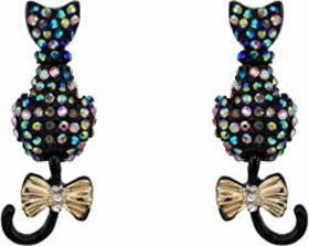 Betsey Johnson Pave Cat Stud Earrings