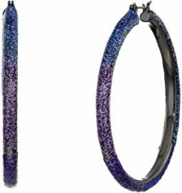 Betsey Johnson Glitter Ombre Hoop Earrings