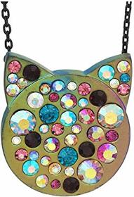 Betsey Johnson Stone Cat Face Pendant Necklace