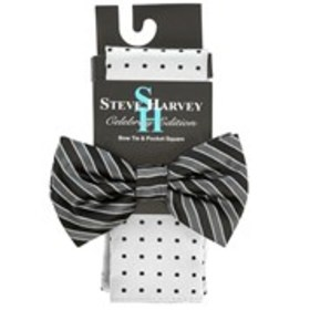 STEVE HARVEY Mens Bow Tie And Pocket Square Set