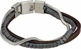 Fossil Triple Strand Hematite, Leather and Steel M