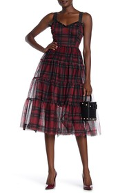 Betsey Johnson Plaid Mesh Dress