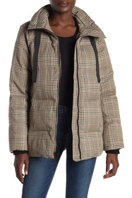 London Fog Plaid Print Stand Collar Quilted Jacket