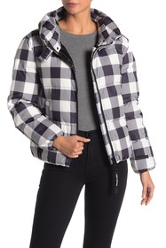 Juicy Couture Buffalo Plaid Funnel Neck Puffer Jac