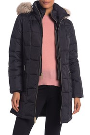 Michael Kors Faux Fur Trim Hooded Quilted Down Jac