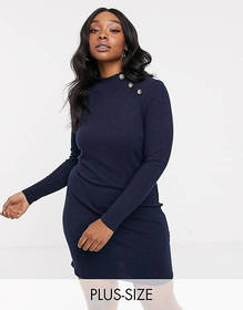 Brave Soul Plus beda rib sweater dress with button