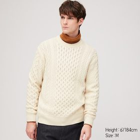 MEN CABLE CREW NECK LONG-SLEEVE SWEATER, OFF WHITE