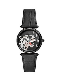 Fossil Lyric Stainless Steel & Leather-Strap Watch