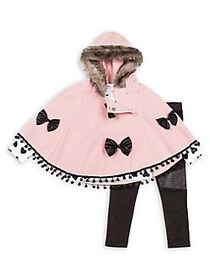 Betsey Johnson Little Girl's 3-Piece Faux Fur-Trim