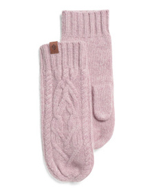 ASPEN Twisted Cable Cashmere Mittens